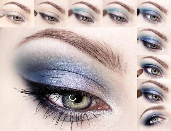 Яркий макияж для серо-голубых глаз