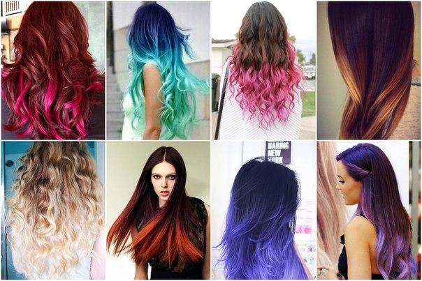 Цветное омбре на длинных волосах