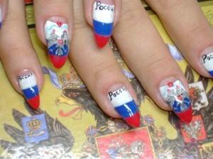 Флаг России на ногтях. Рисунок