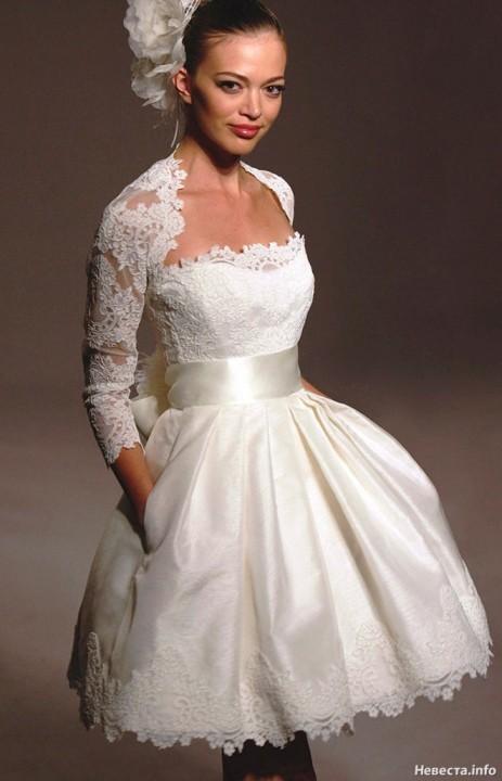 пышное короткое свадебное платье
