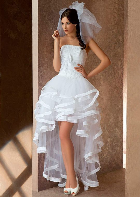 Свадебные платье с коротким передом