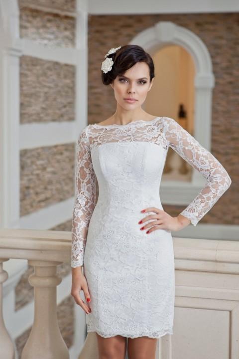 прямое короткое свадебное платье