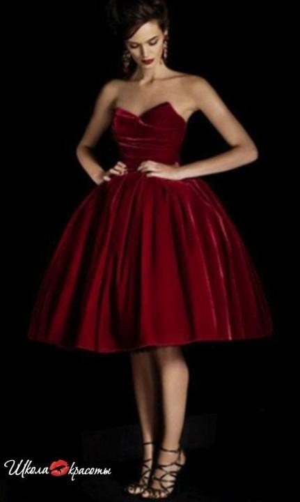 красное платье в стиле 60-х