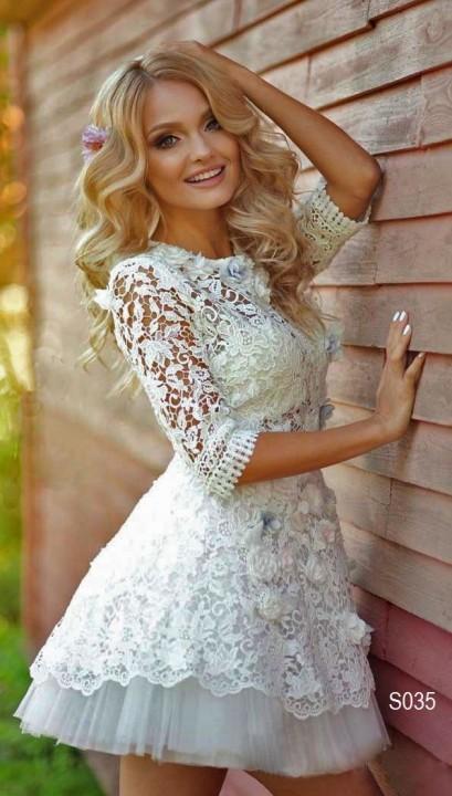 кружевное короткое свадебное платье