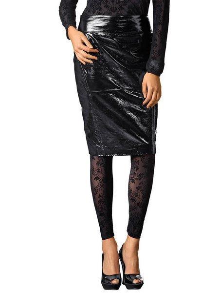 черная кожаная юбка карандаш