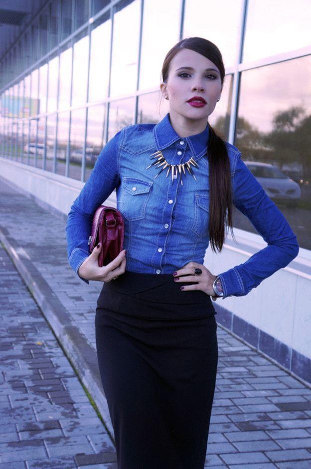 джинсовая рубашка с юбкой карандаш