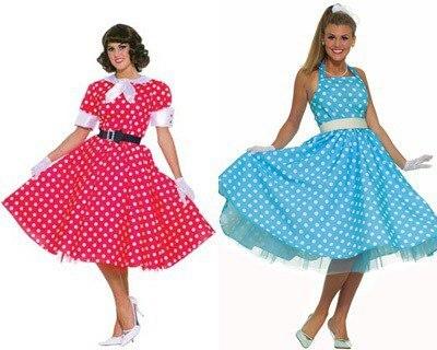 пышные платья в горошек в стиле стиляг 60-х