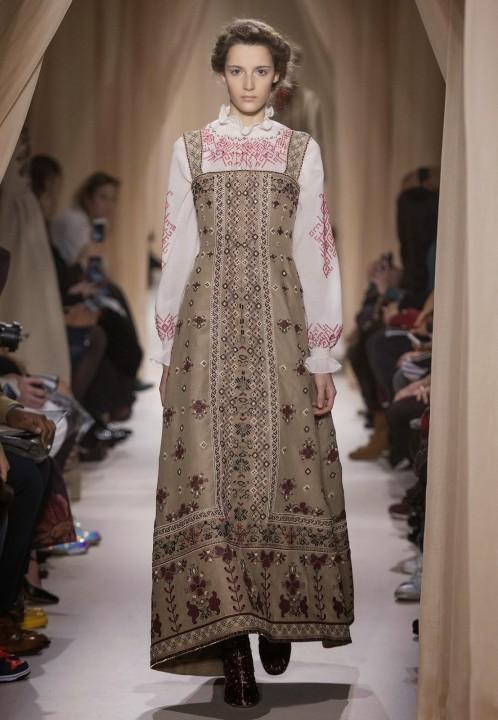 платье в пол в русском стиле