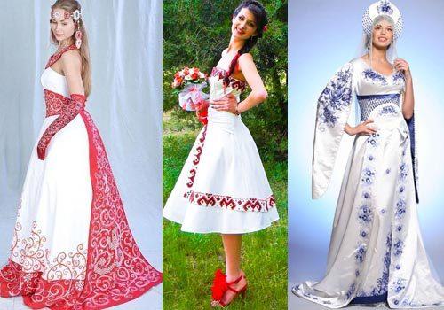 русский этнический стиль свадебного платья