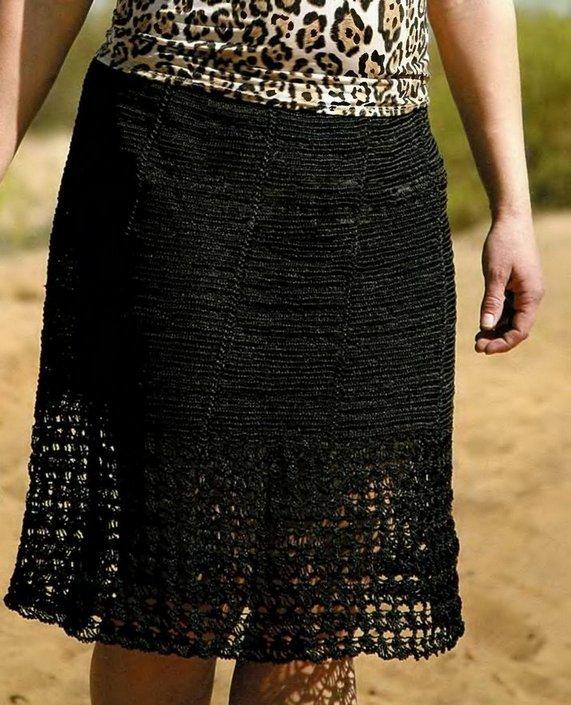 вязанная крючком юбка для полных