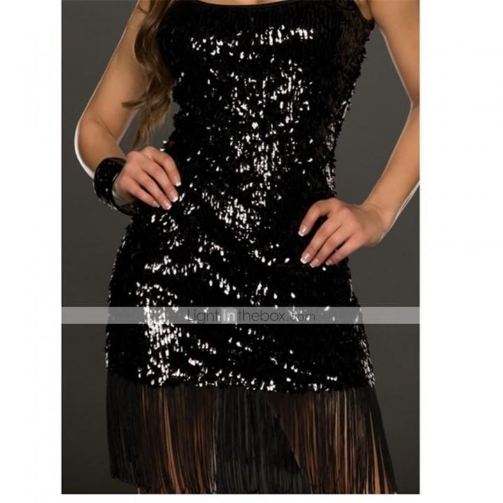 черное платье в стиле 30-х с бахромой