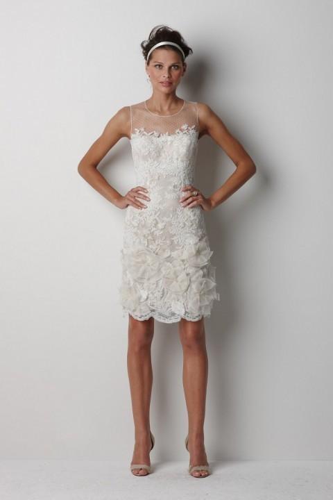 короткое свадебное платье с кружевом
