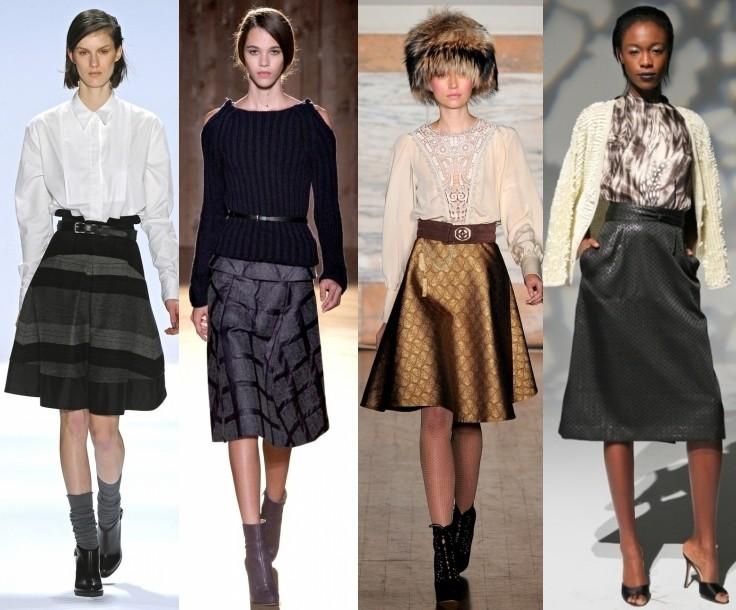 с чем носить юбку миди осенью