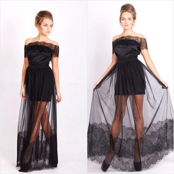 Вечерние платья с юбкой сеткой