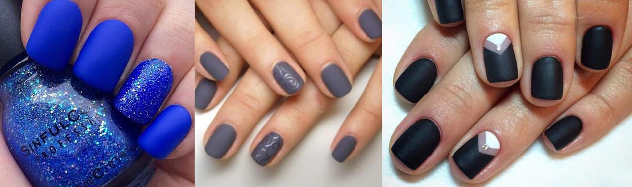 синий, серый и черный матовый маникюр