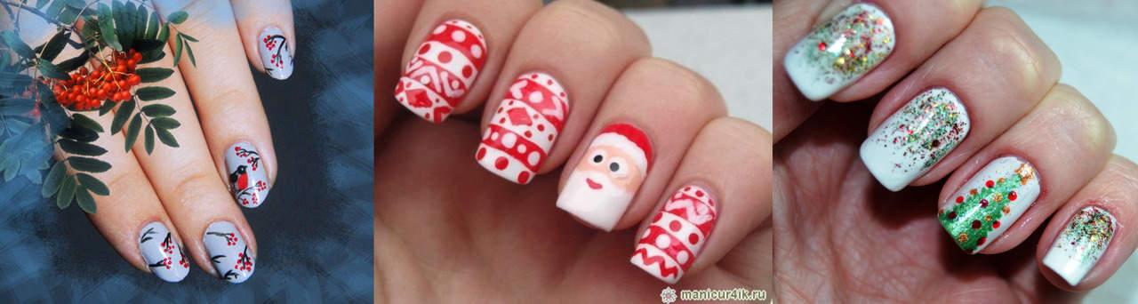 Простые рисунки на ногтях для зимнего маникюра
