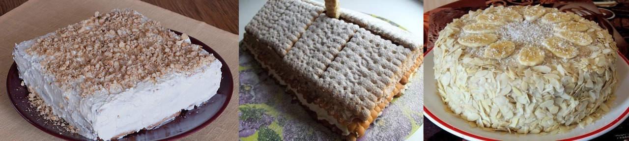 Торт без выпечки с печеньем и творогом