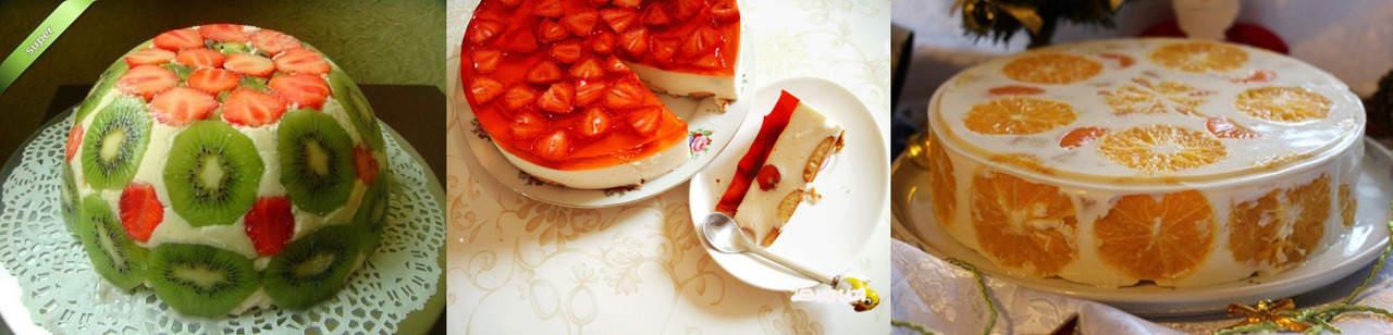 Желатиновый торт без выпечки с фруктами