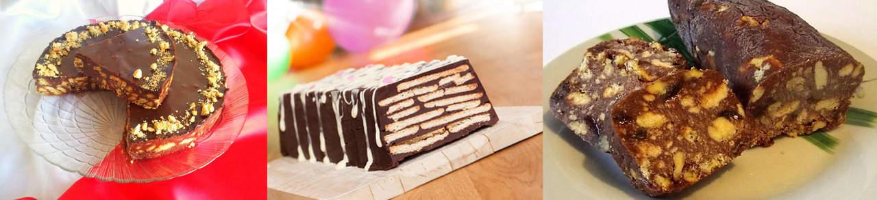 Торт без выпечки шоколадный с печеньем