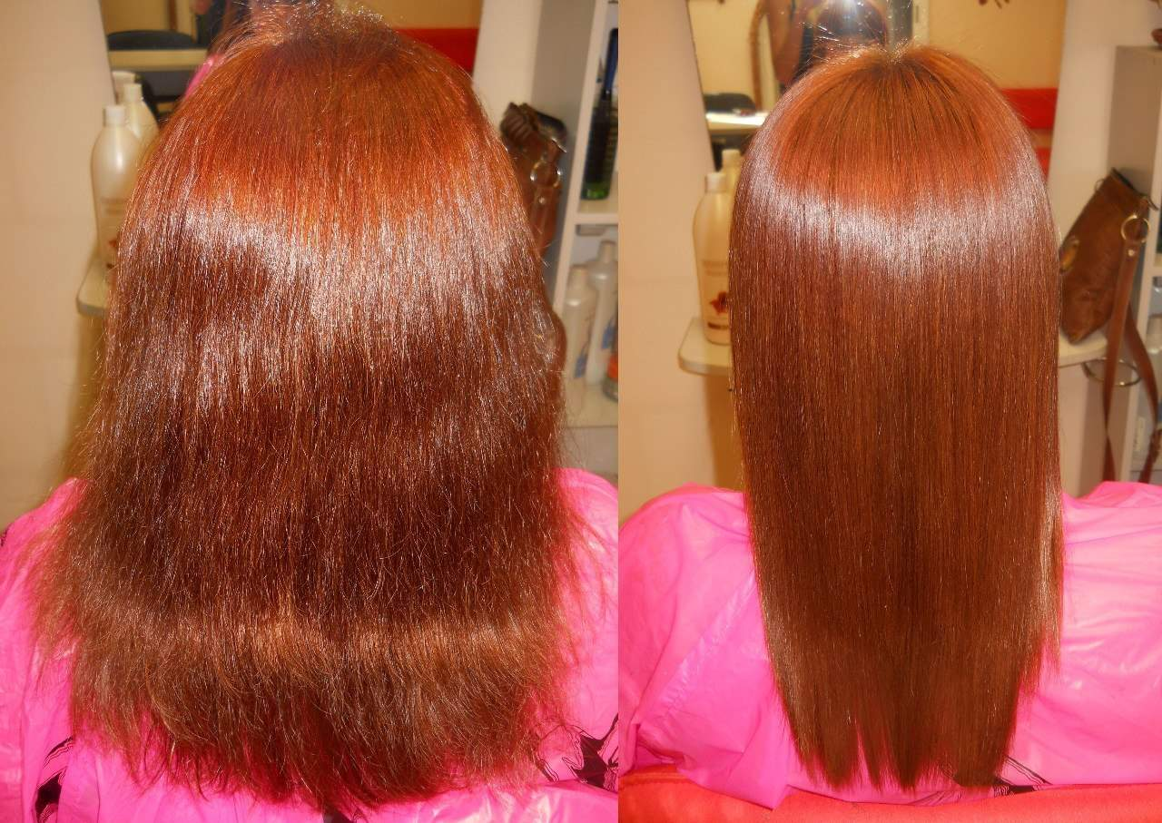 Кератиновое выпрямление волос до и после