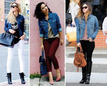 Женская джинсовая куртка - с чем ее носить. Фото: куртка зимняя с мехом, юбкой, платьем и брюками