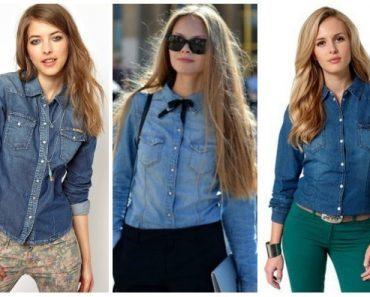Женская джинсовая рубашка: с чем ее носить. Фото рубашек с платьем, юбкой, джинсами и шотрами