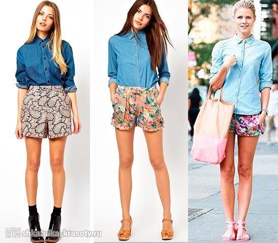 Джинсовая рубашка и яркие шорты