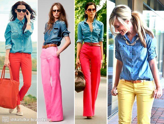Джинсовая рубашка с цветными брюками