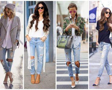 С чем можно носить женские рваные джинсы бойфренды. Фото