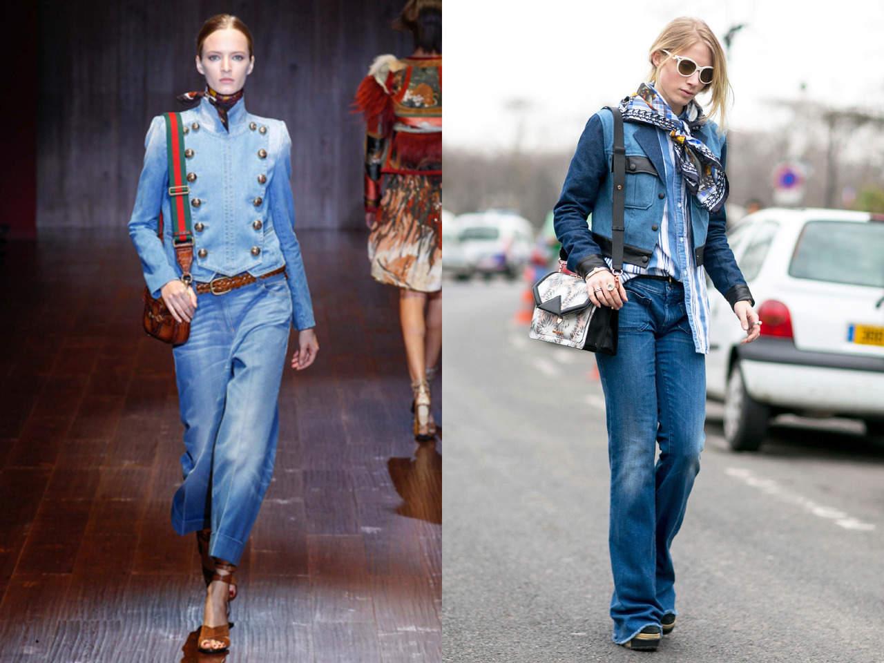 Джинсовая куртка с широкими джинсами