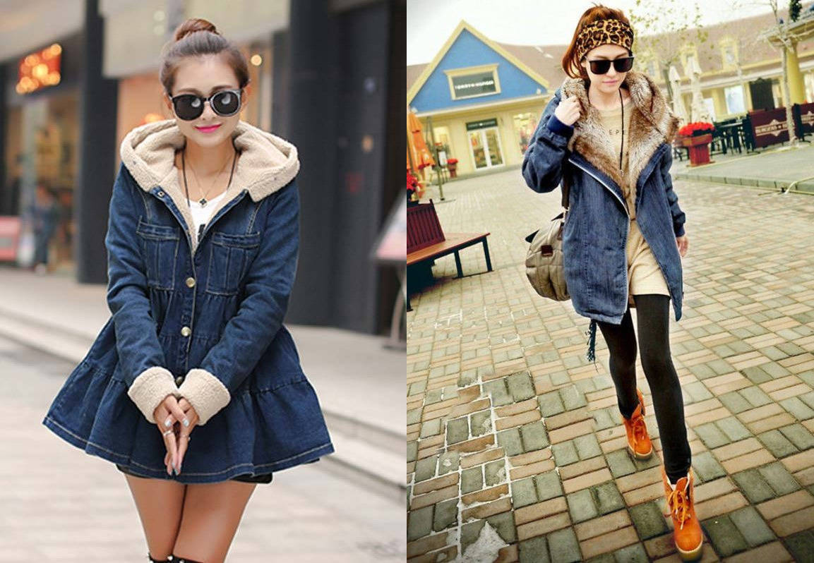 Зимняя джинсовая куртка с мехом