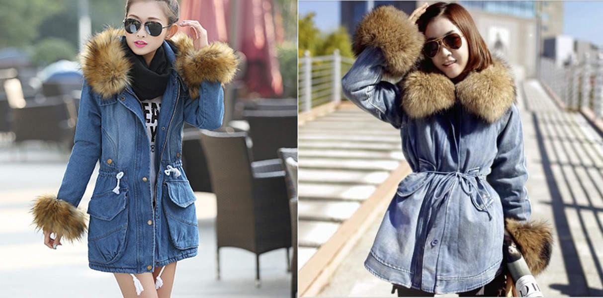 Джинсовая куртка с меховым воротником и рукавами
