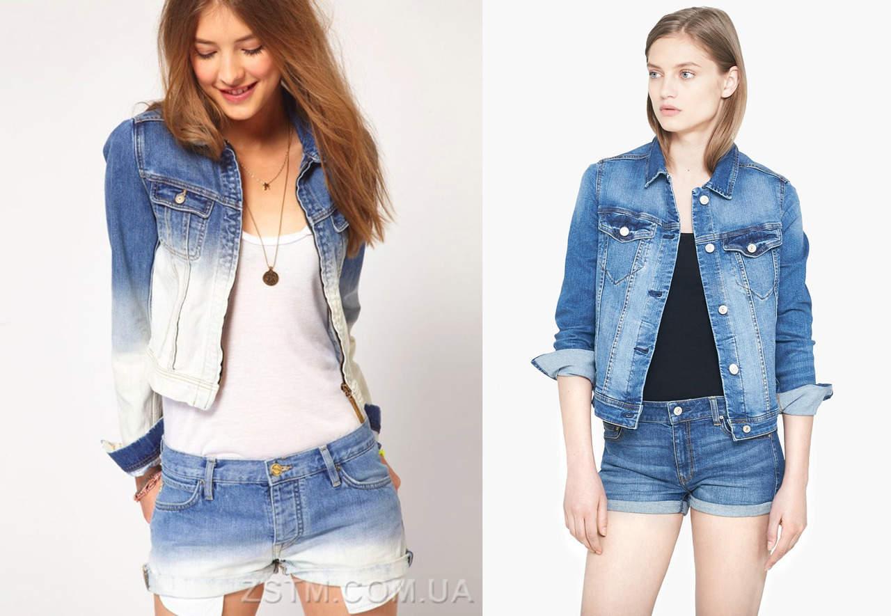 Джинсовая куртка и джинсовые шорты