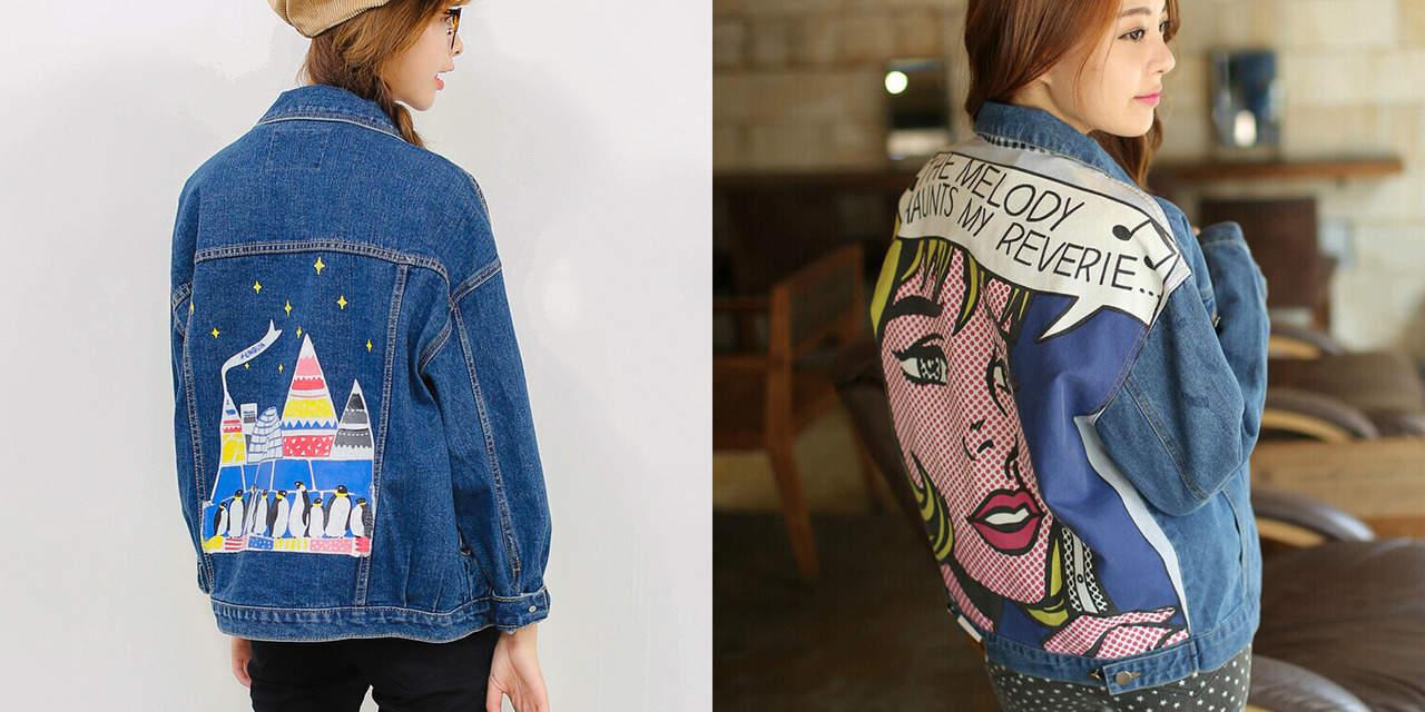 Джинсовая куртка с принтом или рисунком