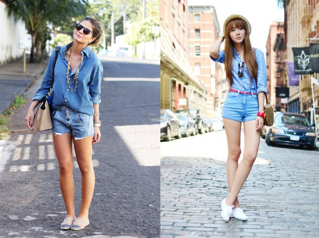 Джинсовая рубашка и джинсовые шорты