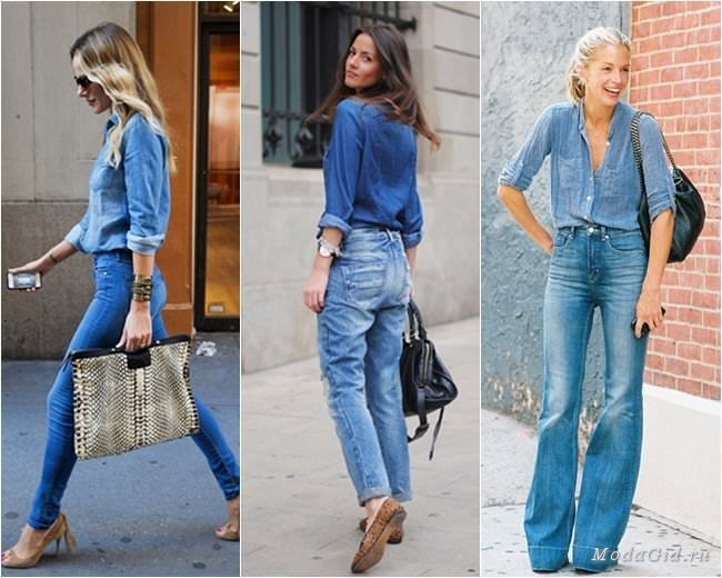 Джинсовая рубашка с джинсами