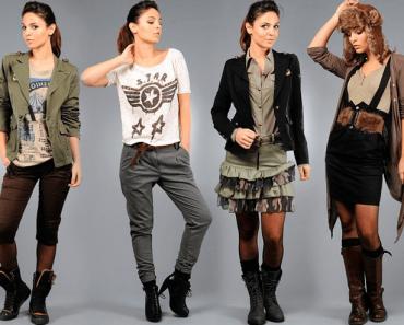 """Женская одежда в стиле """"Милитари"""": куртки, пальто, брюки (штаны) и платья. Фото"""