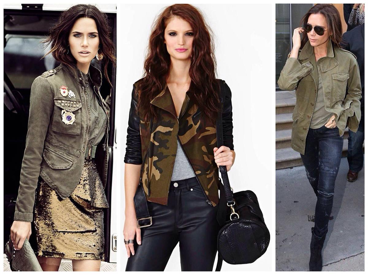Одежда в стиле Милитари на стройных девушках