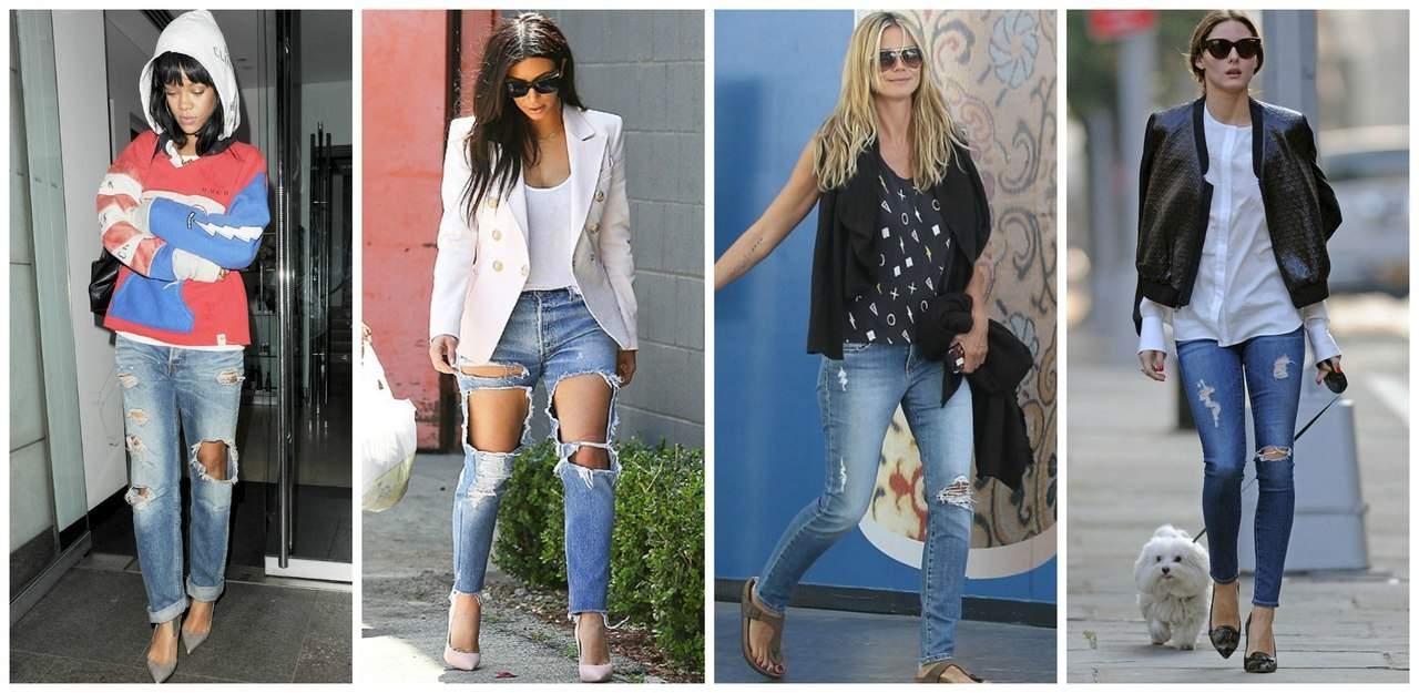 Рваные джинсы и верх одежды