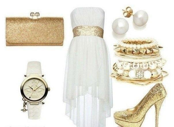 Золотое платье с белым