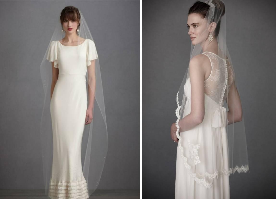 Свадебная фата для прически на средние и длинные волосы