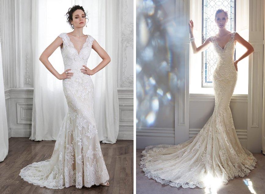 Свадебное платье-годе с широкой юбкой