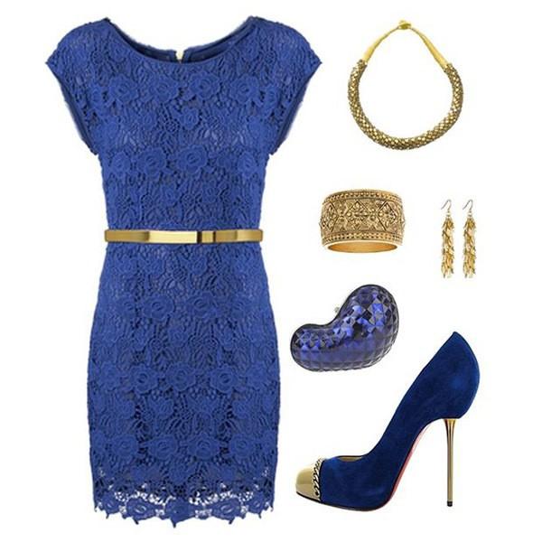 Синее платье с золотом