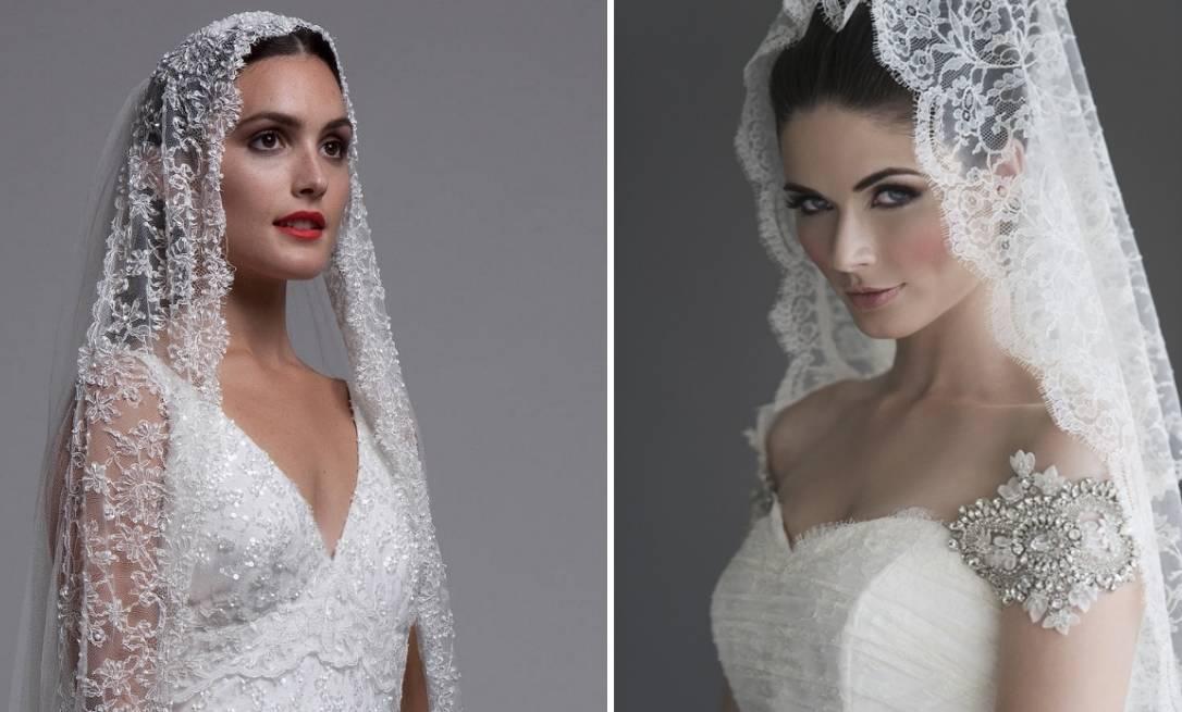 Кружевная свадебная фата однослойная с ажурным рисунком