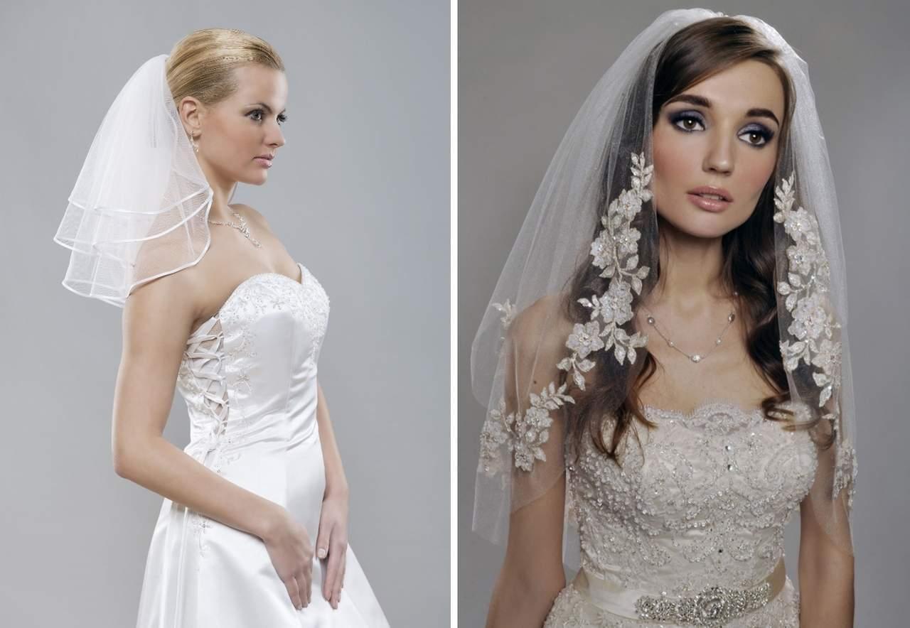 Свадебная фата короткая