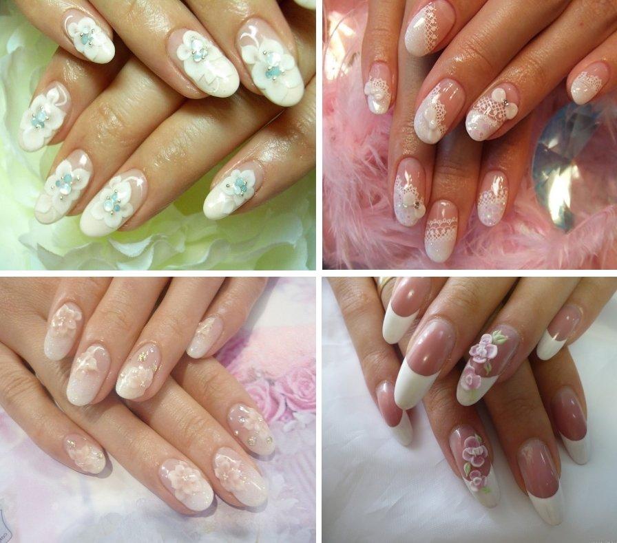 Свадебный маникюр - объемная лепка на круглых ногтях