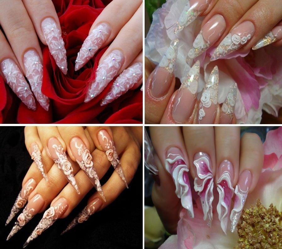 Свадебный маникюр - объемная лепка на заостренных ногтях