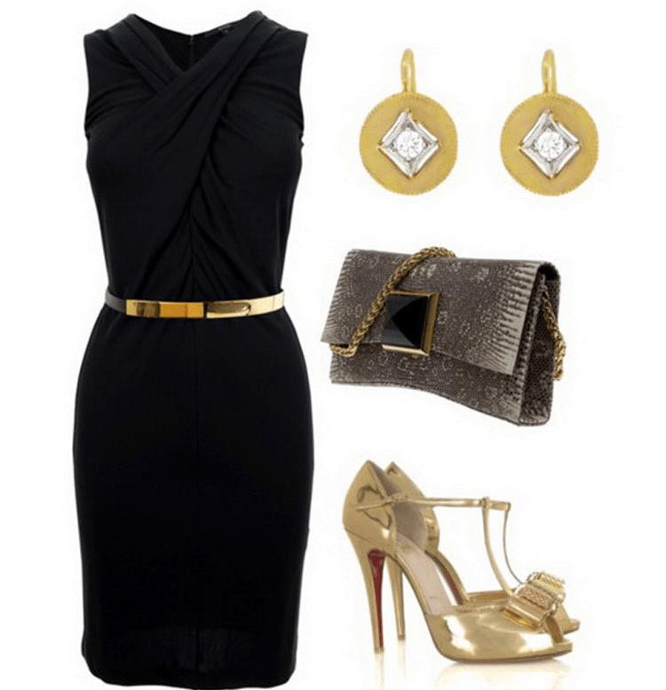 Черное платье с золотом