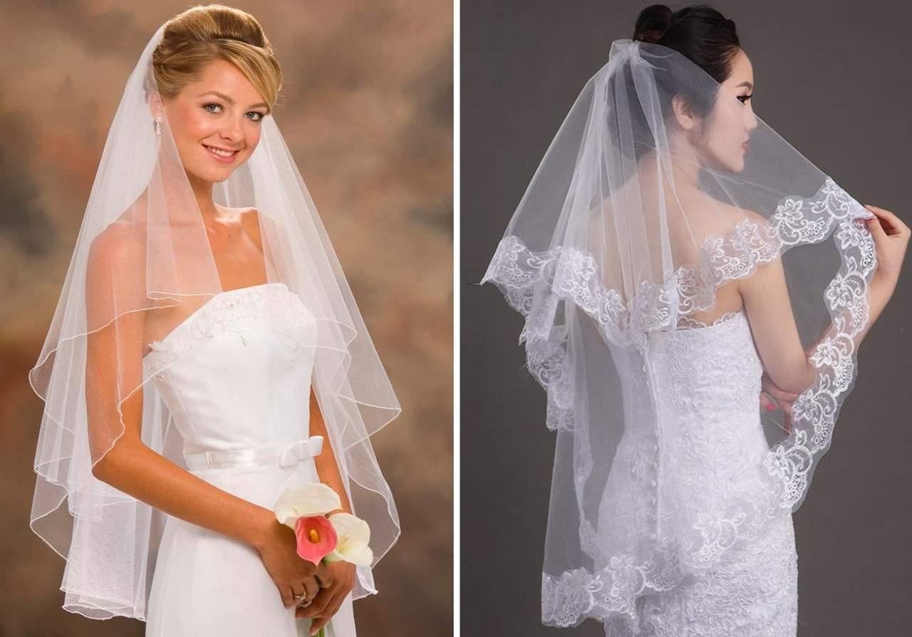 свадебная фата многослойная
