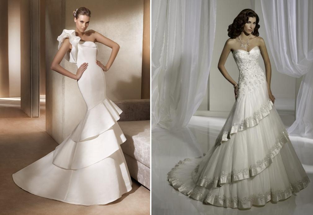 Свадебное платье-годе ярусами
